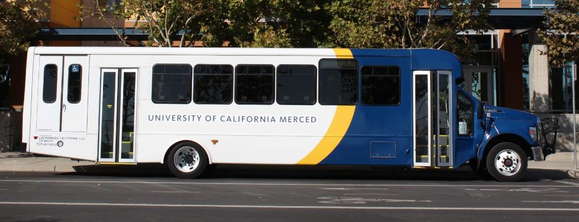 UC Merced CatTracks bus with the Bobcat logo