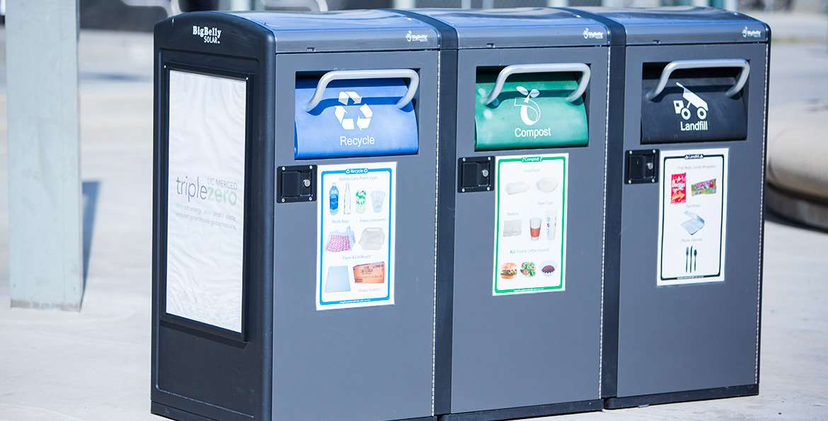 The Big Belly waste-disposal system is in use across campus, and the three different containers, all grouped together as shown here, allow users to choose the correct place for their refuse.