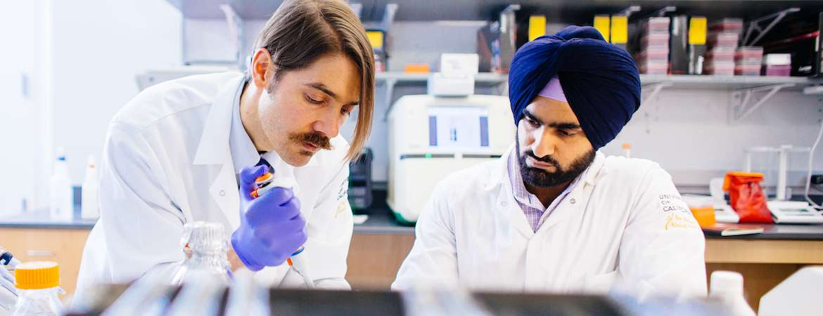Two cancer biologists are at work in the laboratory pipetting fluids.