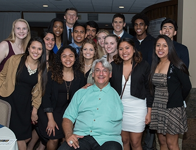 Keynote speaker Dave Dravecky with UC Merced student-athletes at the Building Future Champions Dinner and Auction.