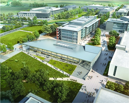 This rendering shows part of UC Merced's planned expansion, with the existing campus in the background and state-of-the-art research labs, a new quad and a multifunctional dining facility to be completed by 2020.