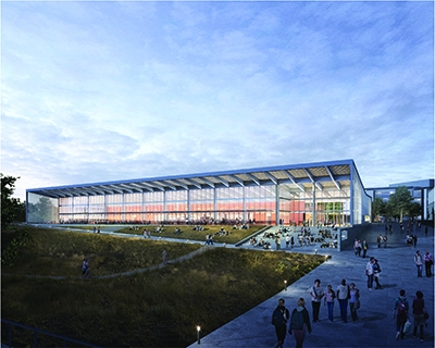 Located at the heart of the expanded campus, the 600-seat Central Dining facility will be a key component of student life. It is expected to be complete by 2018.