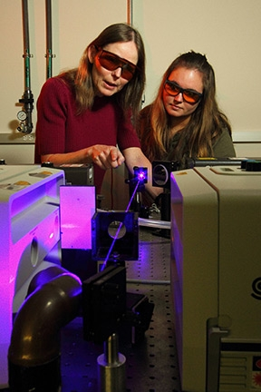 Professor Anne Myers Kelley, left, works with a student in her laser lab.