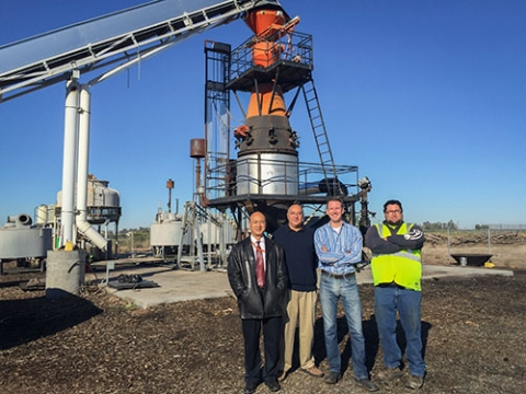 From left to right, Professor YangQuan Chen, Professor Gerardo Diaz, Phoenix Energy CEO and UC Merced Trustee Gregory Stangl and Phoenix Energy plant Manager Todd Machado are working on biochar projects together.