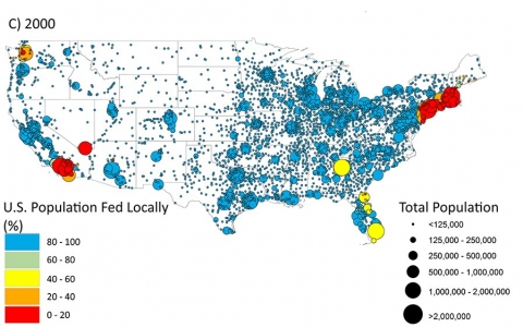 Campbell's map shows the percentages of people who could eat locally in all areas of the country.
