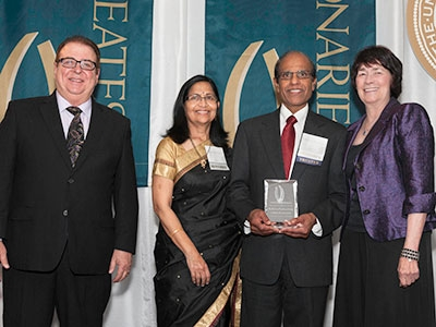 Mike Gallo, Dr. Krishna and Sumana Thondapu and Chancellor Dorothy Leland