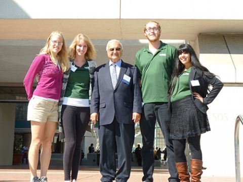 From left to right, Christine Hoffman, Melissa Ricketts, Professor Roland Winston, Bennett Widyolar and Benaz Colabewala at the 2015 UC Solar Research Symposium.