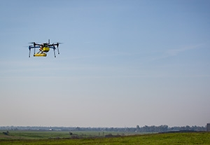 The MESA Lab quadcopter flies over the nature reserve testing a methane sensor.