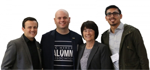 Alumni Brandon Ruscoe and Ketih Ellis, Chancellor Dorothy Leland and student Christopher Bernal