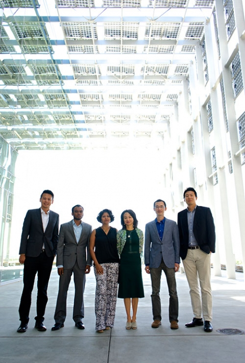 Left to right, Professors Vincent Tung, Anand Subramaniam, Sayantani Ghosh, Jennifer Lu, Tao Ye and Min Hwan Lee are spearheading the new MACES center.