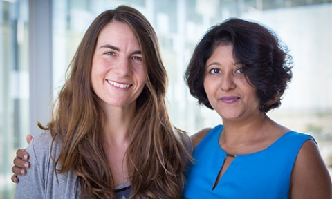 Professors Linda Hirst, left, and Sayantani Ghosh