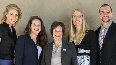From left: Runner-up Melissa Ricketts, runner-up Kristen Valentine, Graduate Dean Marjorie Zatz, runner-up Christine Hoffman and champion Byran Fuhrmann.