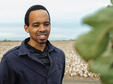 Grad student Lorenzo Booth is working on a water-footprinting project.