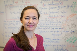 Professor Noemi Petra uses a huge equation, behind her, to address inverse problems.