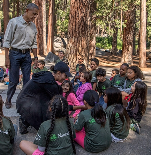 The Obamas surprised fourth-graders who visited Yosemite as part of the Every Kid in a Park Initiative.
