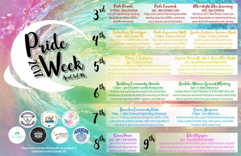 Pride Week 2017 calendar