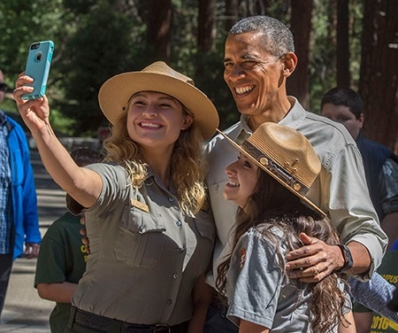 YLP rangers Jessica Rivas, left, and Alejandra Guzman got to meet President Obama in Yosemite.