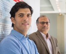 Mehdi Bahrami, left, and Professor Mukesh Singhal work in the Cloud Lab.
