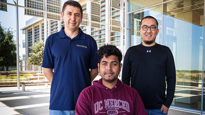 Computer science and engineering Professor Florin Rusu (left) and his third-year graduate students Asoke Datta and Yesdaulet Izenov.