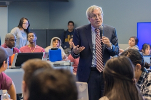Berkeley Law Dean Erwin Chemerinsky speaking with students.
