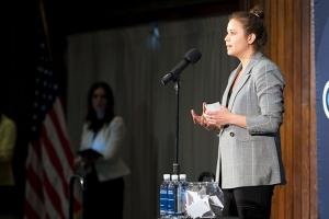 Vicky Espinoza presents her story at a recent symposium.